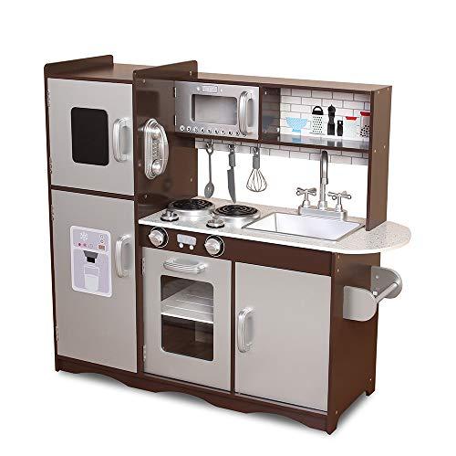 MCC® Spielküche aus Holz für Mädchen und Jungen, wunderschönes Design, BRAUN / Silber, Unisex