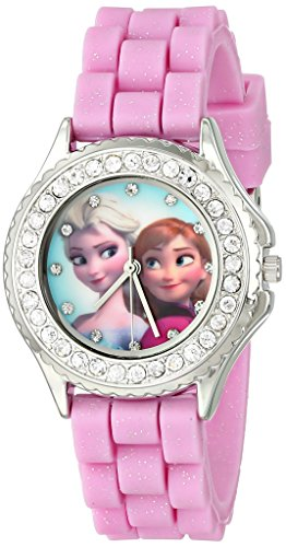 in budget affordable Children's Watch Disney FZN3554 Anna and the Snow Queen Anna and Elsa rhinestones and pink bracelets and sequins