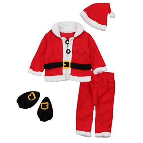perfeclan 4 Piezas Niño Bebé Santa Navidad - rojo, 12-18 meses