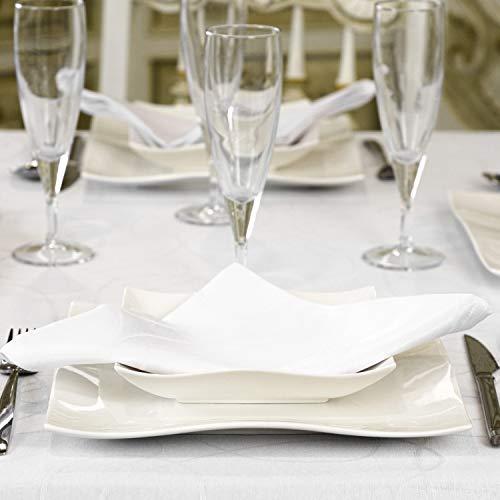 """Mantel blanco con tratamiento antimanchasReferencia: Lines., Blanco, 6 NAPKINS 18 x 18"""" (45 x 45cm)"""
