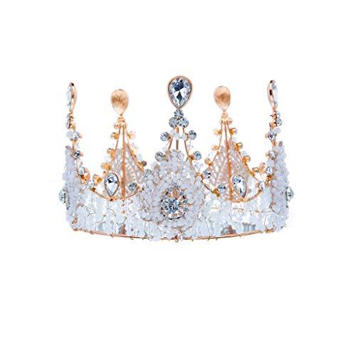 QFF Q Corona de Flores Corona Bohemia Corolla Diadema Tiara de la Corona Europea Retro Accesorios para el Cabello Corona de la Boda joyería F