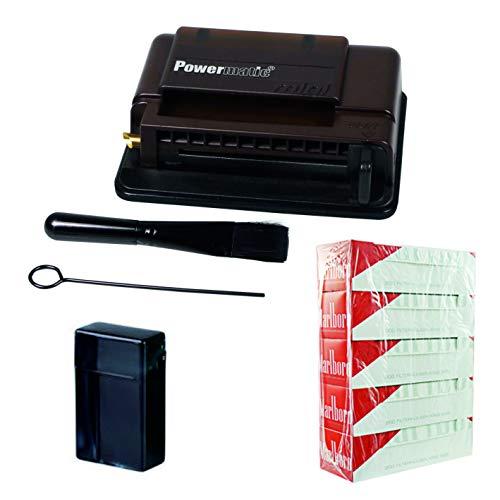 kogu Powermatic Mini Mahagoni-Brown Stopfmaschine Set, 5x200 Marlboro Red Hülsen inkl. Zigarettenbox