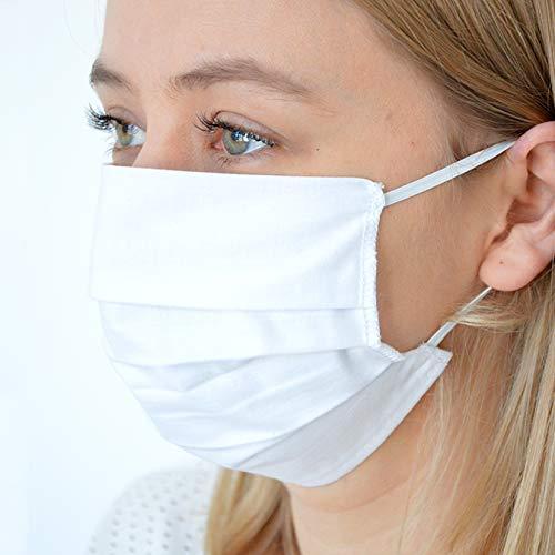 BambiniWelt Mund-Nasen-Maske Behelfsmaske Gesichtsmaske (10 STÜCK) 3-lagig Baumwolle Filter wiederverwendbar weiß10-Stück