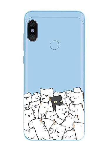 Caler Funda compatible con Xiaomi Mi A2 Lite Funda Transparente con Dibujos TPU Suave Bumper Protectora Case con Patrón Lindo de TPU Silicona Antigolpes 3D Vogue Ultra Chic Lujo