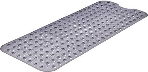 MoreCro Badewannenmatte, 100 x 40cm Extra Lange rutschfeste Schimmelresistente Badewanneneinlage/Duschmatte mit 200 Saugnäpfen, Maschinenwaschbar (Hellgrau)