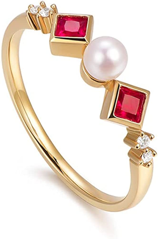 De Lapoll 14K Yellow Gold Women's Natural Akoya Pearl Ring Promise Ring With Diamonds and Ruby