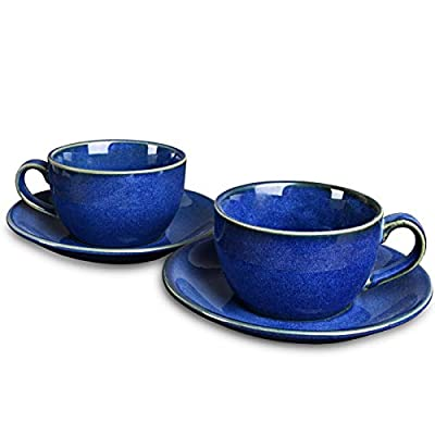 Bosmarlin Ceramic Coffee Cup Mug with Saucer Set of 2 for Latte, Cappuccino, Tea, 8.5 Oz, Dishwasher and Microwave Safe(Royal blue, 2)