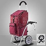 XYYZX Trolley Portaspesa Multifunzione - Esclusivo Carrello Porta Spesa con seggiolino Integrato richiudibile,Rosso,B