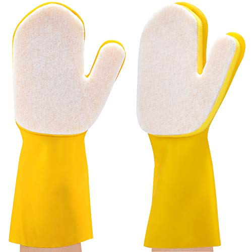 2 Pieces Pool Cleaning Gloves Spa Scrubbing Mitt Waterproof Latex Gloves with Scouring Pad for Swimming Pool, Hot Tub and Spa, Right Hand (White)