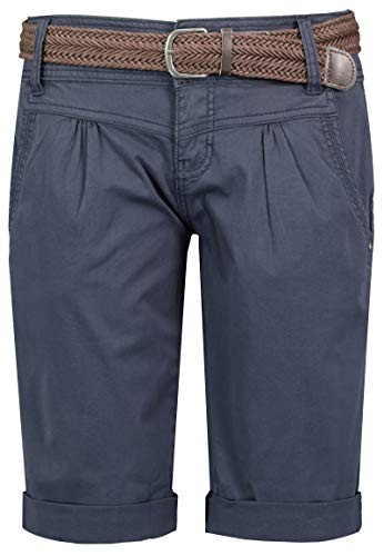 Fresh Made Basic Bermuda-Shorts im Chino Stil mit Gürtel Dark-Blue M