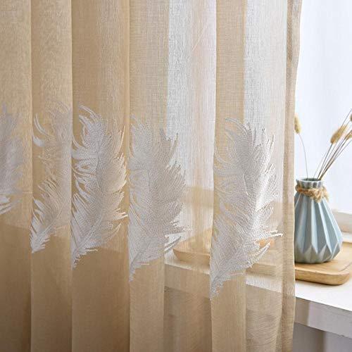 SSXCO - Cortinas de tul bordadas con plumas blancas para sala de estar, dormitorio, cortinas de gasa bordadas, 3D, tul de café, 400 x 250 cm