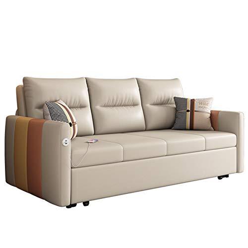 Sofá Cama De Tela Mejorado, Moderno Sofá Reclinable Plegable Multifuncional con USB Y Función Práctica De Caja De Almacenamiento para Muebles De Dormitorio De Sala De Estar,120CM