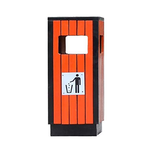 LICHUAN Papelera con cubo interior y cenicero, cubos de reciclaje cuadrados sin tapa para uso comercial en interiores y exteriores, gran capacidad (color: rojo)
