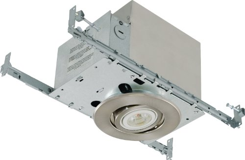 Liteline RC40518R-LED-PW-BN All-in-One 4-inch LED Recessed Combo with Insulated Ceiling Housing, 8W LED PAR20 lamp, Gimbal Trim, Brushed Nickel