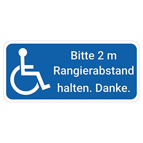 deformaze Sticker Rollstuhlfahrer Behinderten Aufkleber Bitte 2 m Rangierabstand halten Warnaufkleber 20 x 9 cm Rolli quer Auto KFZ Scheibe UV Wetterfest