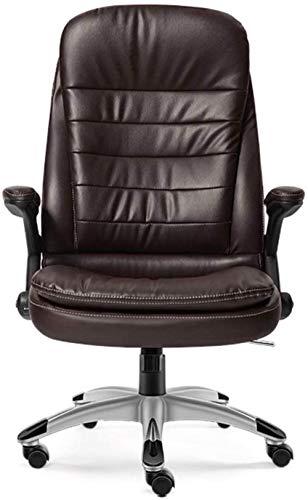 Taburete de bar THBEIBEI de cuero grueso acolchado silla de oficina silla de juego silla de ordenador, cómodo respaldo alto reclinable silla ejecutiva ergonómica con brazos (color: marrón)