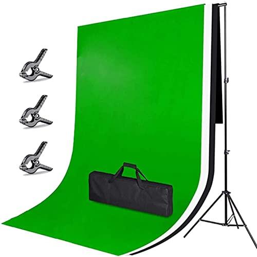 Fotostudio Hintergrund Ständer Set, 2mx3m Hintergrund Weiß Schwarz Grün, Greenscreen Mit 3x2m Verstellbar Ständer, 3 Klemmen und Tragetasche, Hintergrund Fotografie