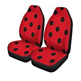 Pinbeam Car Seat Covers Red Ladybird Ladybug Pattern Black Animal Beetle Bug Cartoon Set of 2 Auto Accessories Protectors Car Decor Universal Fit for Car Truck SUV