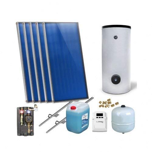 Solaranlage Warmwasser Solarpaket 5 Kollektoren Speicher Flexrohr Flachkollektor