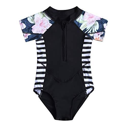 Caracilia Mädchen UPF 50+ Sonnenschutz Kinder Neoprenanzug Kurzarm Badeanzug T03-M ZWY03