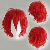 Peluca de cosplay de color rojo corto y esponjoso, pelo liso, unisex, disfraz de Halloween