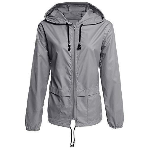 Elonglin Femme Veste Imperméable Légère Veste de Pluie avec Capuche Manche Longue Manteau Respirant Mince Gris Asie M