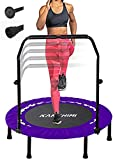 Kanchimi 101.6 cm Faltbar Mini Fitness Indoor Exercise Workout Rebounder Sport Trampolin mit Griff, Max Load 150Kg, Schwarz / Violett