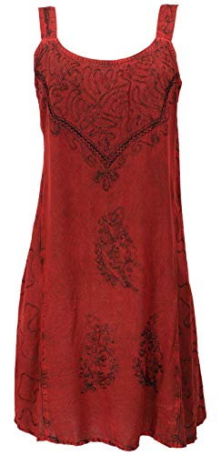 GURU SHOP Besticktes Indisches Minikleid Chic, Hippie Tunika, Damen, rot Design 16, Synthetisch, Size:40, Kurze Kleider Alternative Bekleidung