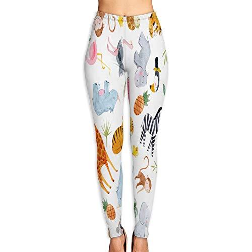 Pantalones de Yoga para Mujer,Lindo Patrón Acuarela con Safari Diferentes Tropicales,Pantalones de Entrenamiento de Cintura Alta Medias elásticas de Yoga Impresas S
