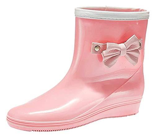 NIANXINN Botas de Lluvia de Lazo Lindo Mid-Becerro Botas Impermeables para Mujer de Moda Botas de Lluvia al Aire Libre Botas de Lluvia (Color : Pink, Size : 37 EU)