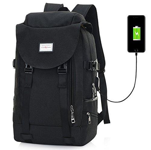 Super moderne Unisexe en nylon Sac à dos d'école avec chargeur USB Port pour ordinateur portable 38,1 cm Sac de transport pour adolescents Filles et garçons Cool Sac à dos de sport Large noir