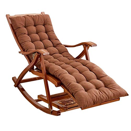 N/Z Life Equipment Chaise berçante pour Salon de Jardin avec Balcon extérieur   Chaise Relax Pliable pour Enfant Adulte avec Coussins Bruns   Chaises Longues pour Bain de Soleil