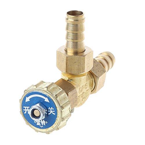Ontracker Válvula de aguja de latón para codo, 10 mm, para gas butano, propano, 1 MPa