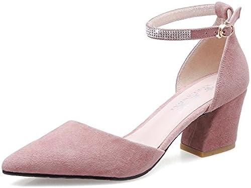 Jqdyl Talons Hauts Chaussures Femme Printemps Unique Chaussures Femelle Nouveau étudiant Chaussures Talons Hauts Rugueux avec Chaussures Pointues Sauvage