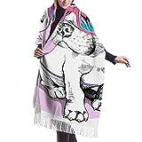 Coperta, Sciarpa con Frange, Arazzo, Accessori per Abiti, Cucciolo Bulldog Costume dai Colori Vivaci Unicorni Premium Poncho con Nappe Scialle Mantella