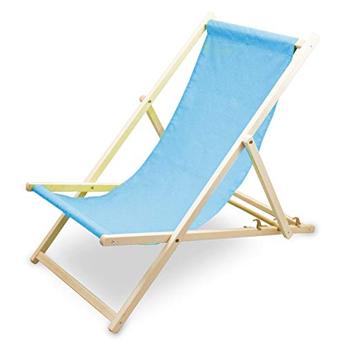 BITUXX Gemühtlicher Liegestuhl Sonnenliege Gartenliege Holzliege Strandliegestuhl Holz Klappbar (Komplett Set Blau)