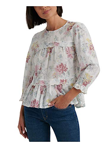 Lucky Brand Women's Knit Woven Mix Floral Print Blouse, Natural Multi, XS