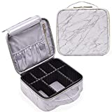 Stagiant Marble Makeup Bag Large Travel Makeup Organizer Bag Cosmetic Train Case Leather Makeup Travel Storage Bag Portable Brush Holder with Adjustable Divider for Jewelry Cosmetics for Women