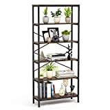 "Umekesa Bookshelf Rack 5 Tier Vintage Bookcase Shelf Storage Organizer Modern Wood Look Accent Metal Frame Furniture Home Office- Vintage Walnut, 31.4"" L × 11.8"" W × 70.9"" H"