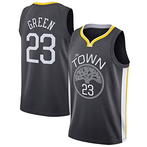 Fei Fei Camiseta de Baloncesto para Hombre Draymond Green 23#, Uniforme de la Temporada de los Golden State Warriors, Unisex sin Mangas,Negro,L