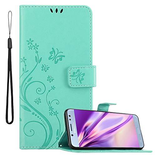Cadorabo Funda Libro para Samsung Galaxy J5 2017 en Turquesa Floral – Cubierta Proteccíon en Diseño de Flor con Cierre Magnético, Función de Suporte e 3 Tarjeteros - Etui Case Cover Carcasa