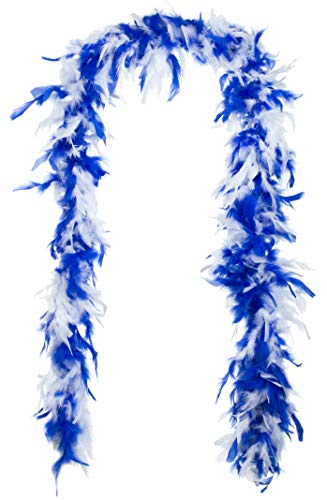 Brandsseller - Federboa Federschal Federstola Schal Karneval Fasching Burlesque Kostüme Zubehör (ca. 1,80 m, Blau/Weiß)