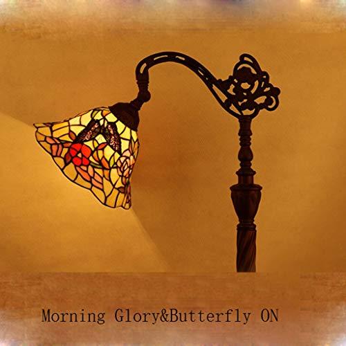 Gweat Tiffany 10 Pulgadas Continental Butterfly y Morning Glory Pastoral Antique Lámpara de pie Dormitorio Sala de Estar Lámpara de pie Pesca Café Lámpara