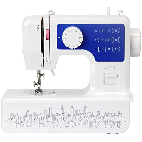 Portable Sewing Machine for Beginners, Mini Electric Household Multi-Function Crafting Mending Sewing Machine,Features 12 Built-in Stitches, 2 Speeds, Foot Pedal, LED Sewing Light,Blue