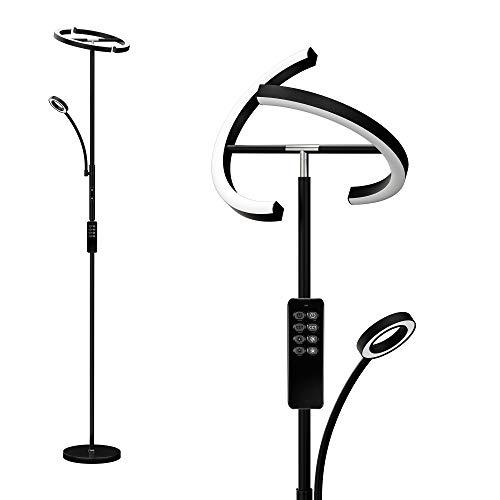 Anten Eclipse I Deckenfluter 30 W I Schwarz I Leselampe und Fernbedienung I 3 dimmbare Lichtfarben (warmweiß/kaltweiß/neutralweiß)