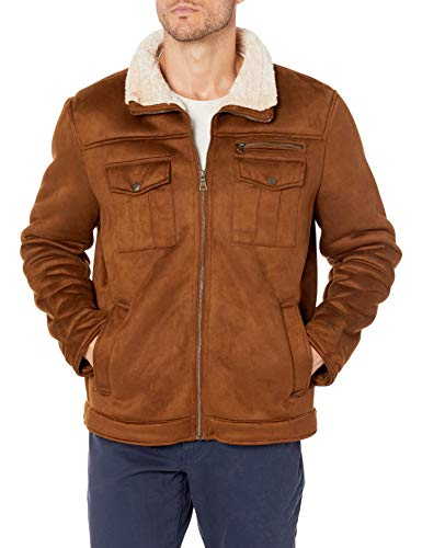 G.H. Bass & Co. Men's Faux Shearling Sherpa Lined Military Jacket, Brown, Large