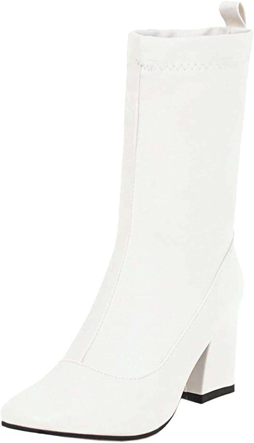 Unm Women's Thigh High Square Toe Autumn Winter Short Boots