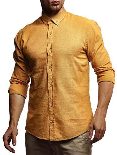 Leif Nelson Herren Leinenhemd Hemd Leinen Kurzarm T-Shirt Oversize Stehkragen Männer Freizeithemd Sommerhemd Regular Fit Basic Shirt Kurzarmshirt Freizeit Sweater LN3875 Mustard Large