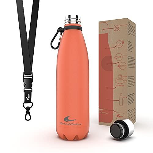 Daikoku Botella Acero Inoxidable + Cinta ajustable + Mosquetón + Anillo Silicona - Termo Doble Pared Libre de BPA - 12 Horas Caliente - 24 Horas Fría – Botella Reutilizable - 500ml - Color Cor