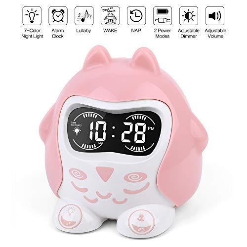 Kinderwecker, 7-beruhigendes Nachtlicht & Dimmer, Weck-/Nap-Timer, Schlaftraining Schlafzimmer Uhr & 9 Sounds, Snooze, Einstellbare Lautstärke, Lustige Gesichter, Batterie/Steckdose betrieben, 12/24H